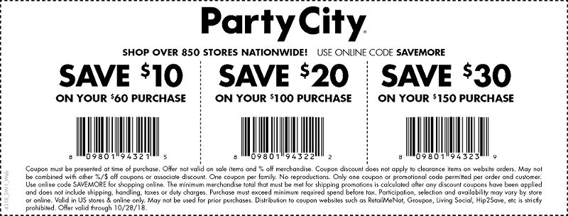 Party City Coupon November 2019 $10 off $60 & more at Party City, or online via promo code SAVEMORE