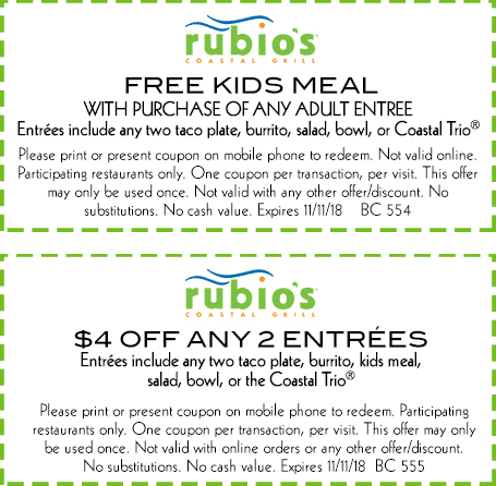 Rubios Coupon November 2019 $4 off & free kids meal with your entree at Rubios coastal grill