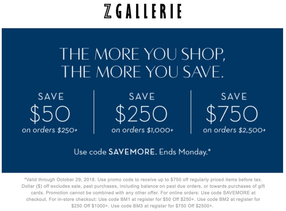 Z Gallerie Coupon November 2019 $50 off $250 & more at Z Gallerie, or online via promo code SAVEMORE