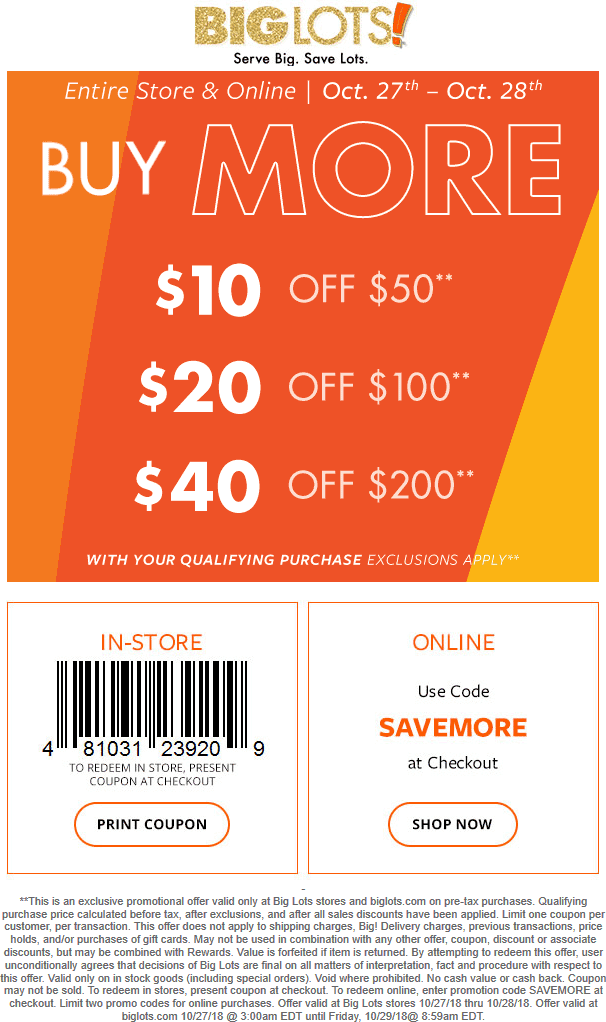 Big Lots Coupon March 2019 $10 off $50 & more at Big Lots, or online via promo code SAVEMORE
