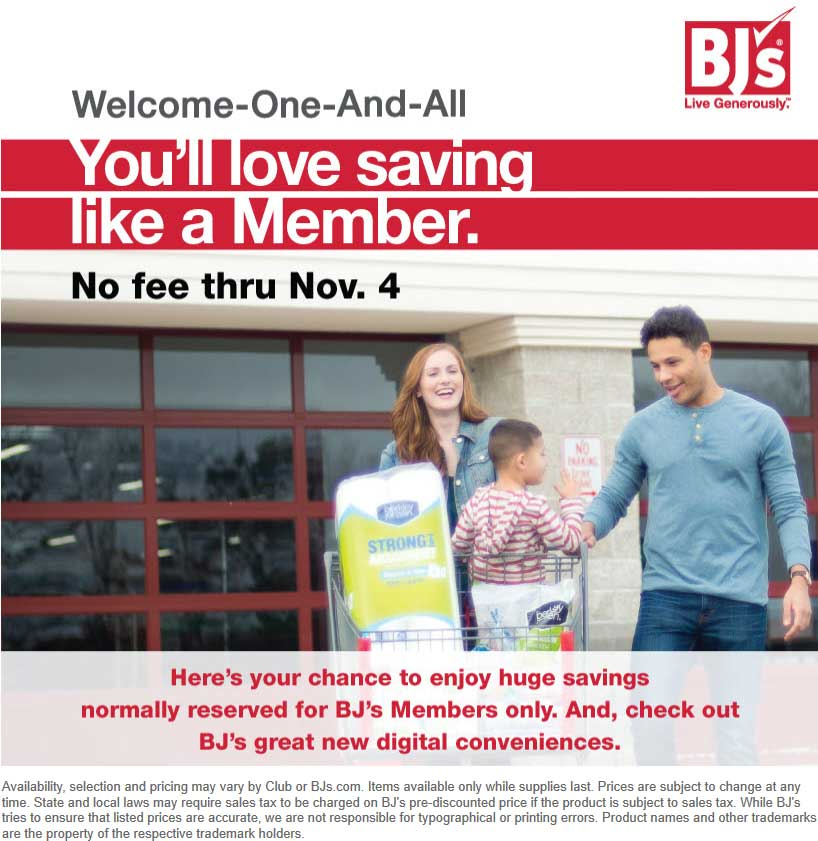 BJs Wholesale Coupon September 2019 Fee free for non-members at BJs Wholesale Club