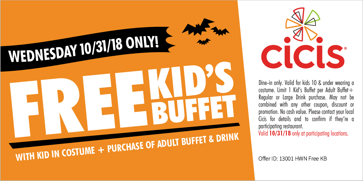 CiCis Pizza Coupon July 2019 Free kids buffet with yours Wednesday at Cicis pizza
