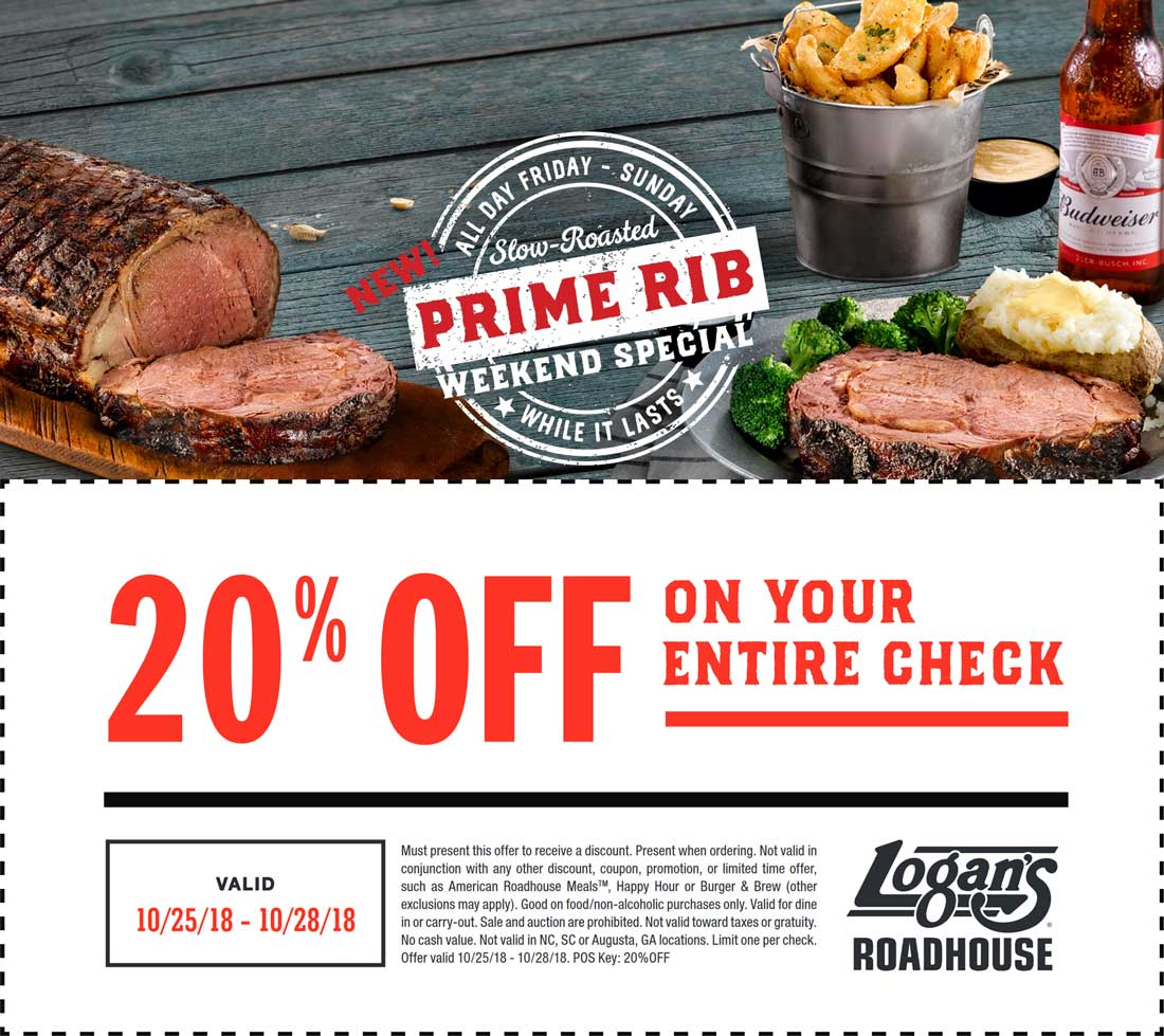 Logans Roadhouse Coupon July 2019 20% off at Logans Roadhouse restaurants