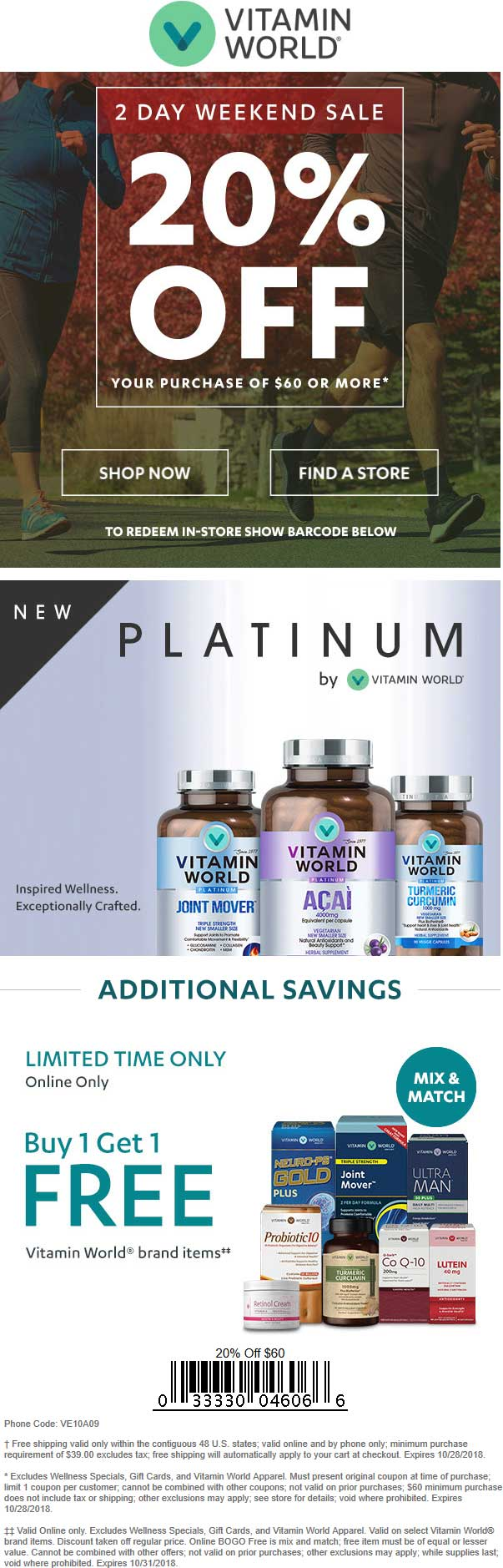 Vitamin World Coupon July 2019 20% off $60 at Vitamin World, or online via promo code VE10A09