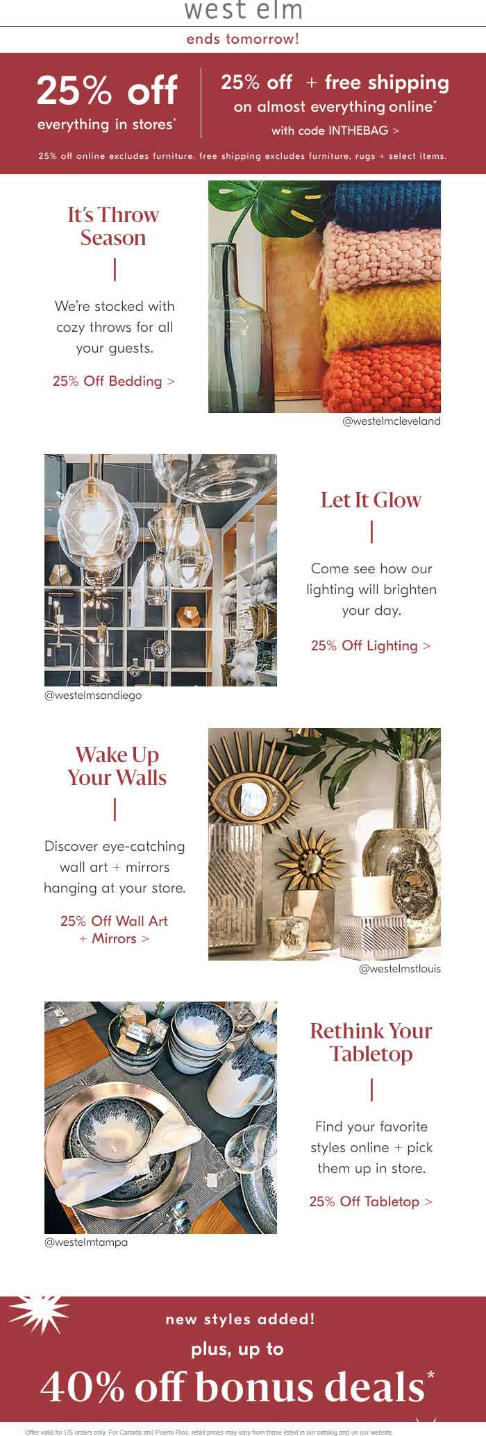 West Elm Coupon September 2019 25% off everything at West Elm, or online via promo code INTHEBAG