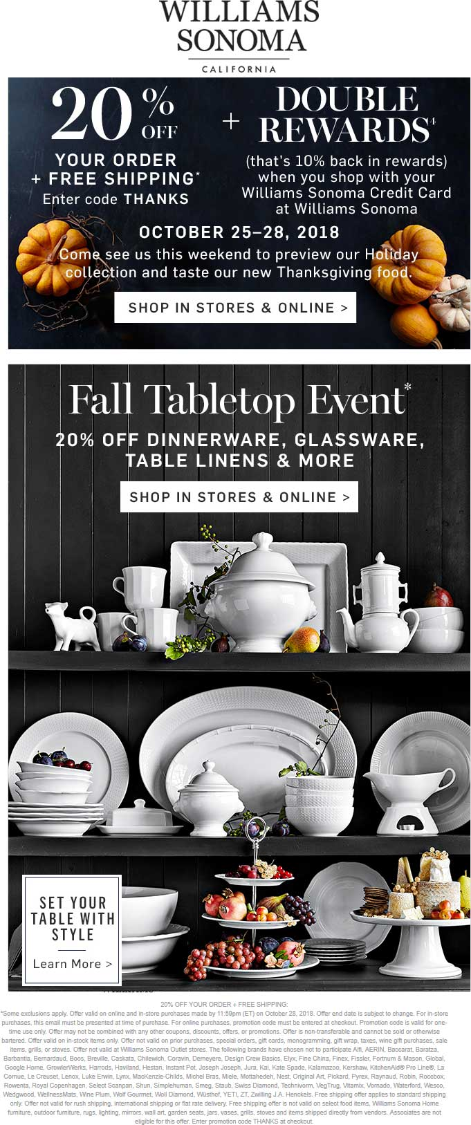 WilliamsSonoma.com Promo Coupon 20% off at Williams Sonoma, or online via promo code THANKS