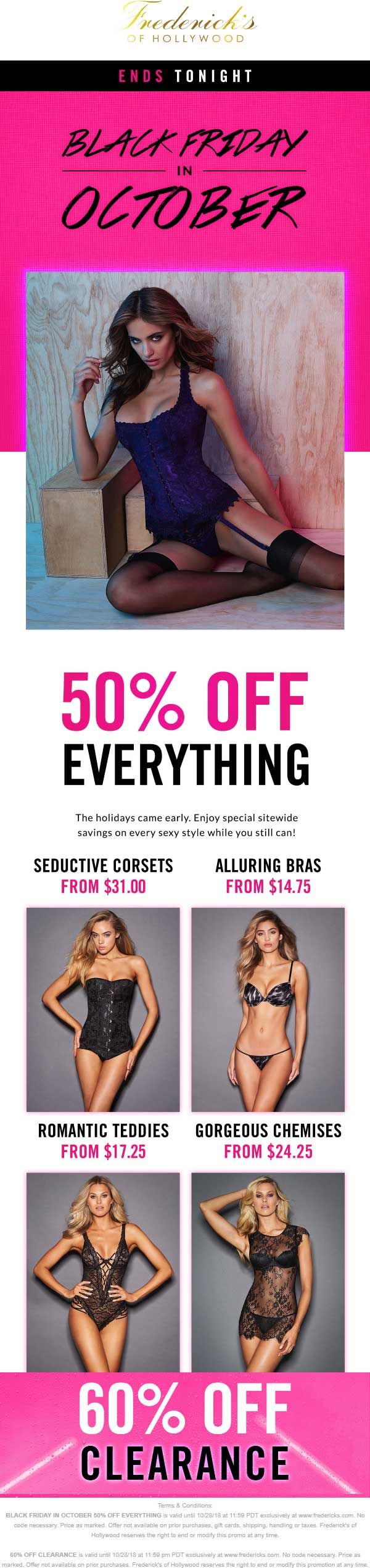 Fredericks of Hollywood Coupon July 2019 50% off everything today at Fredericks of Hollywood