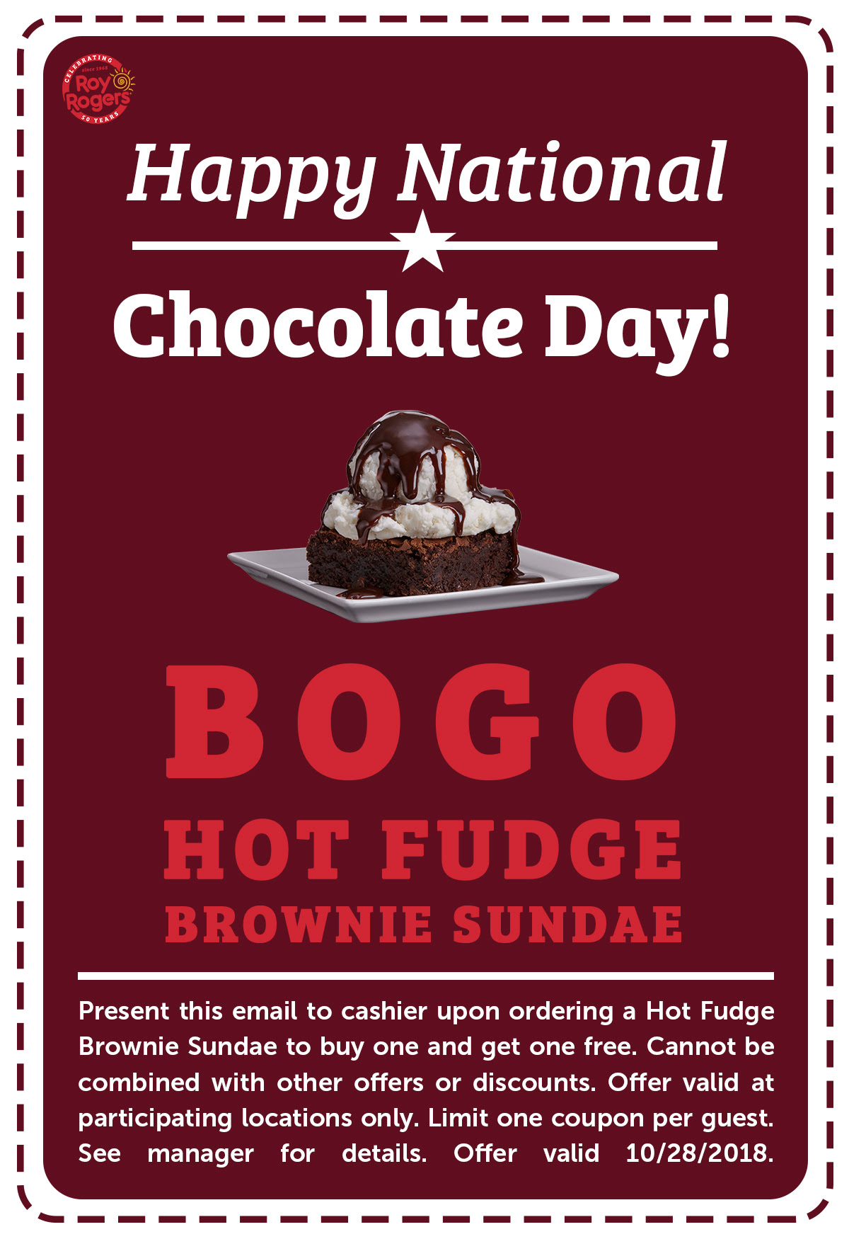 Roy Rogers Coupon September 2019 Second hot fudge brownie sundae free today at Roy Rogers restaurants