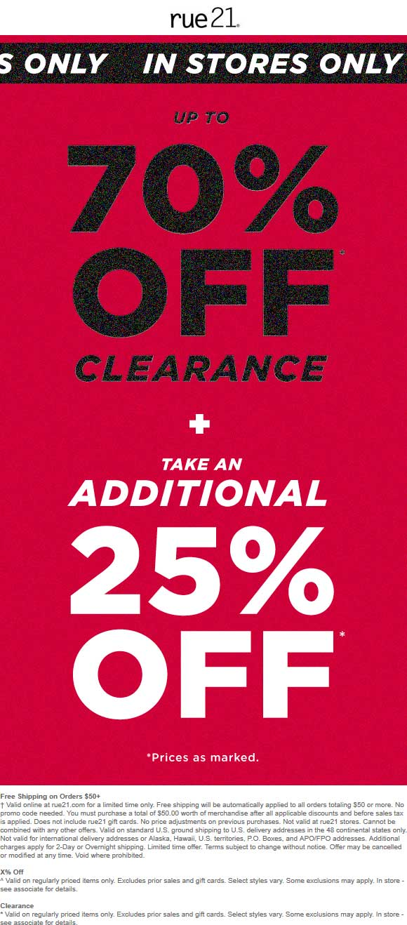 Rue21.com Promo Coupon 25-95% off clearance at rue21