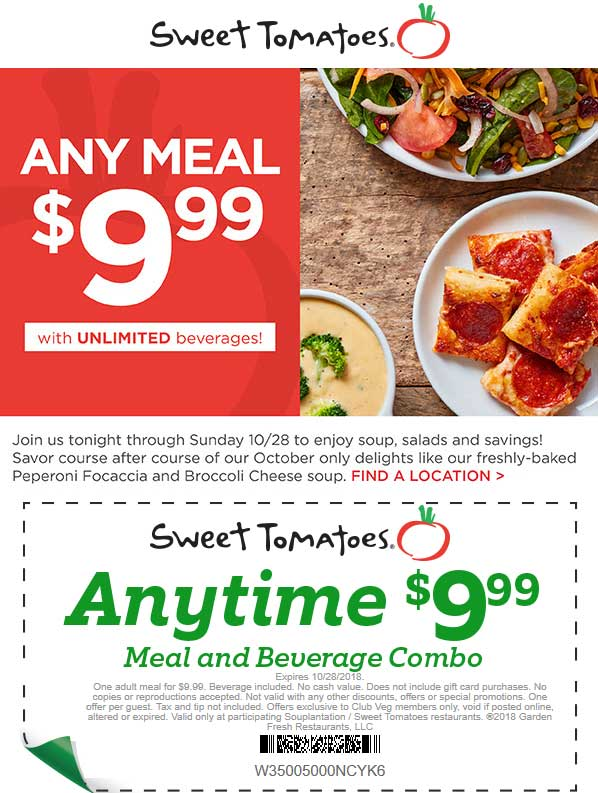 Sweet Tomatoes Coupon February 2019 Meal + drink = $10 today at Sweet Tomatoes
