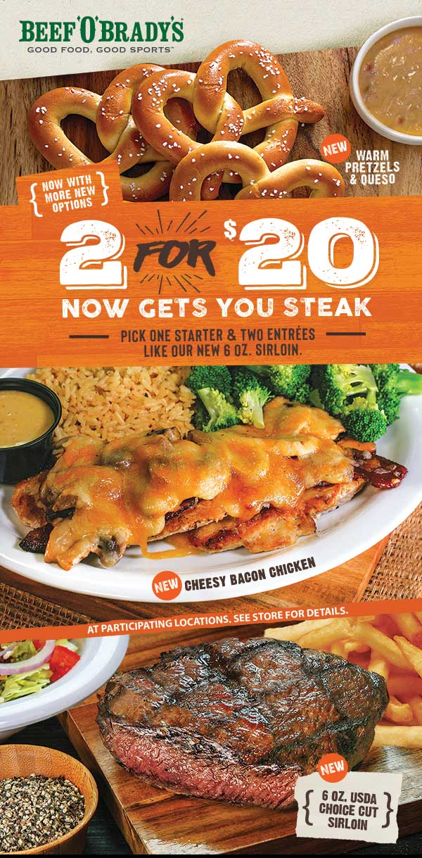Beef OBradys Coupon January 2019 2 steaks + appetizer = $20 at Beef OBradys