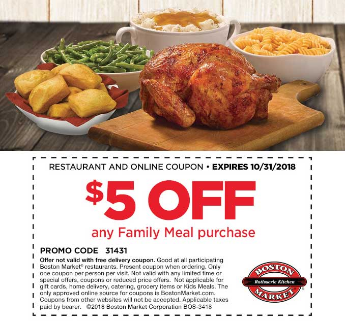 Boston Market Coupon May 2019 $5 off a family meal at Boston Market