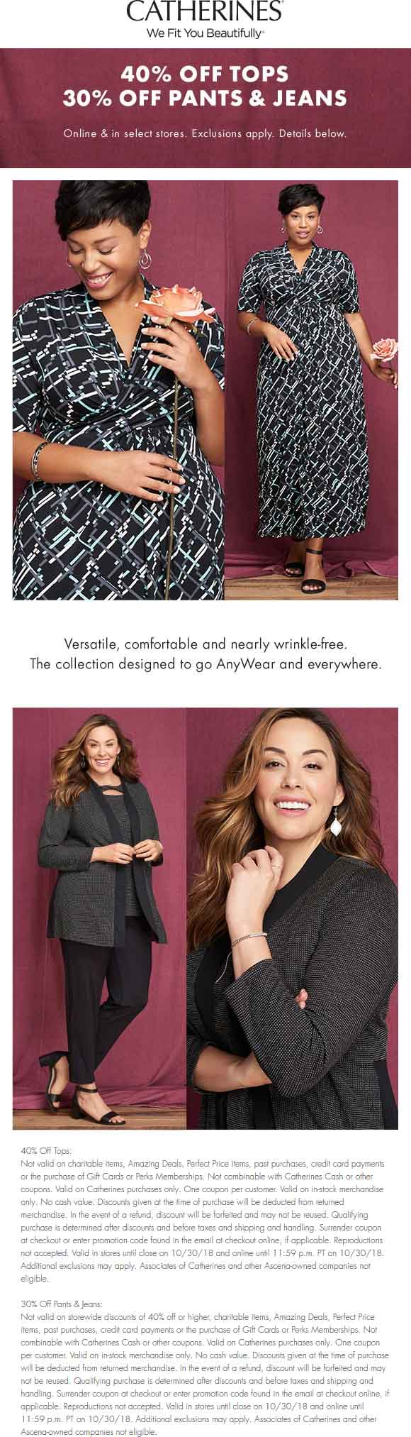Catherines Coupon October 2019 40% off tops & more at Catherines, ditto online