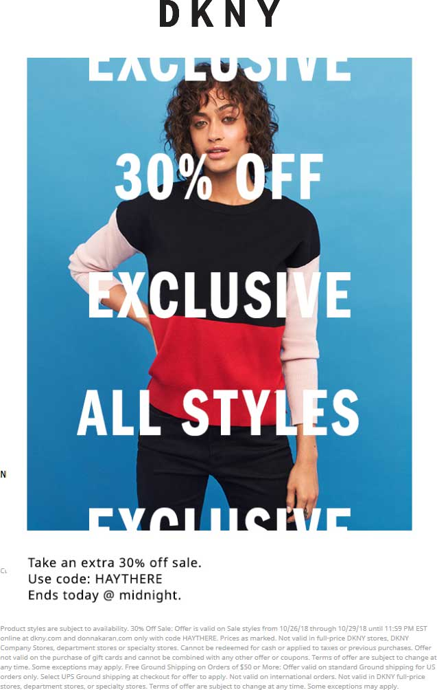 DKNY Coupon November 2019 30% off sale items online today at DKNY via promo code HAYTHERE