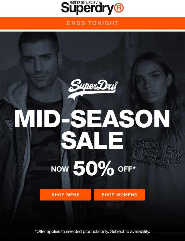 Superdry Coupon October 2019 50% off sale going on today at Superdry
