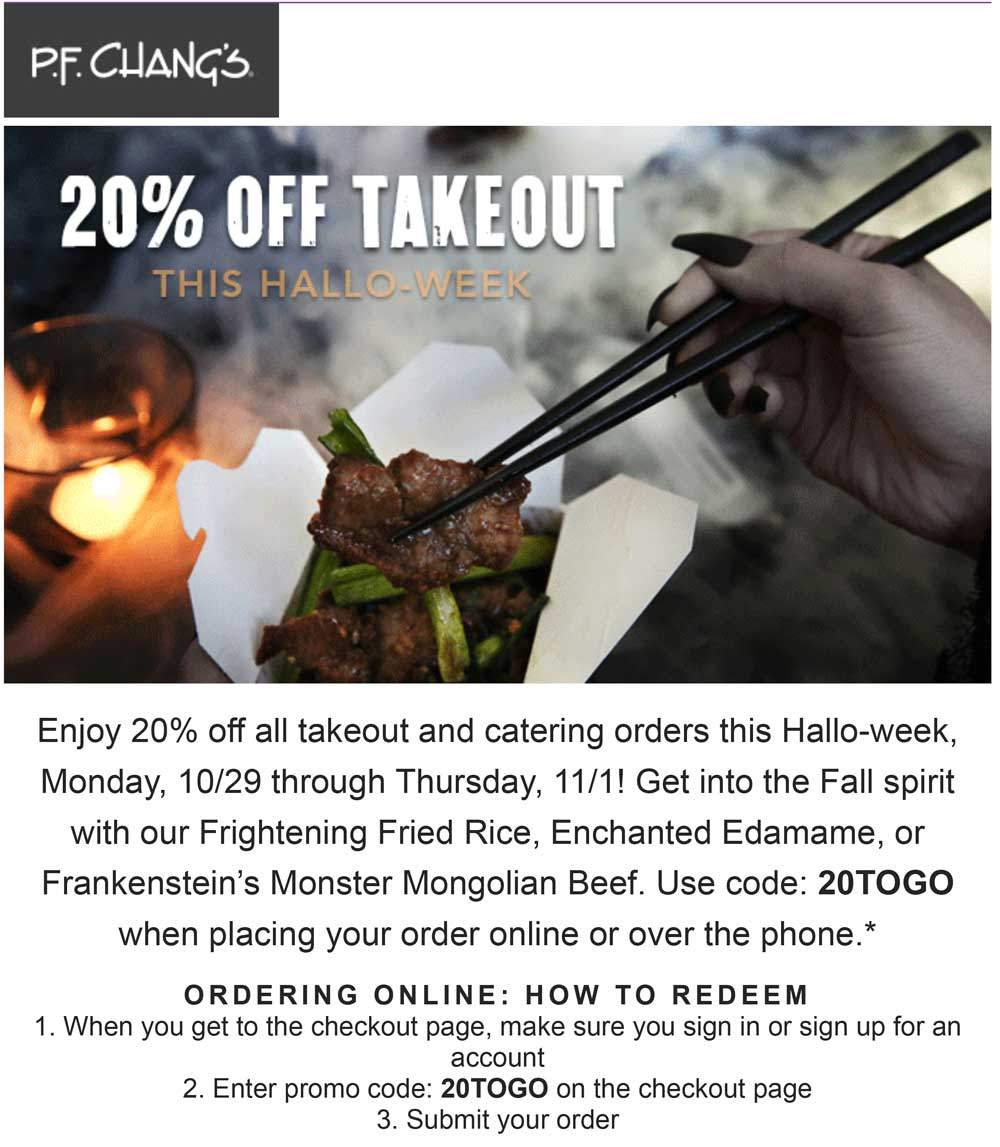 P.F. Changs Coupon July 2019 20% off takeout at P.F. Changs restaurants via promo code 20TOGO