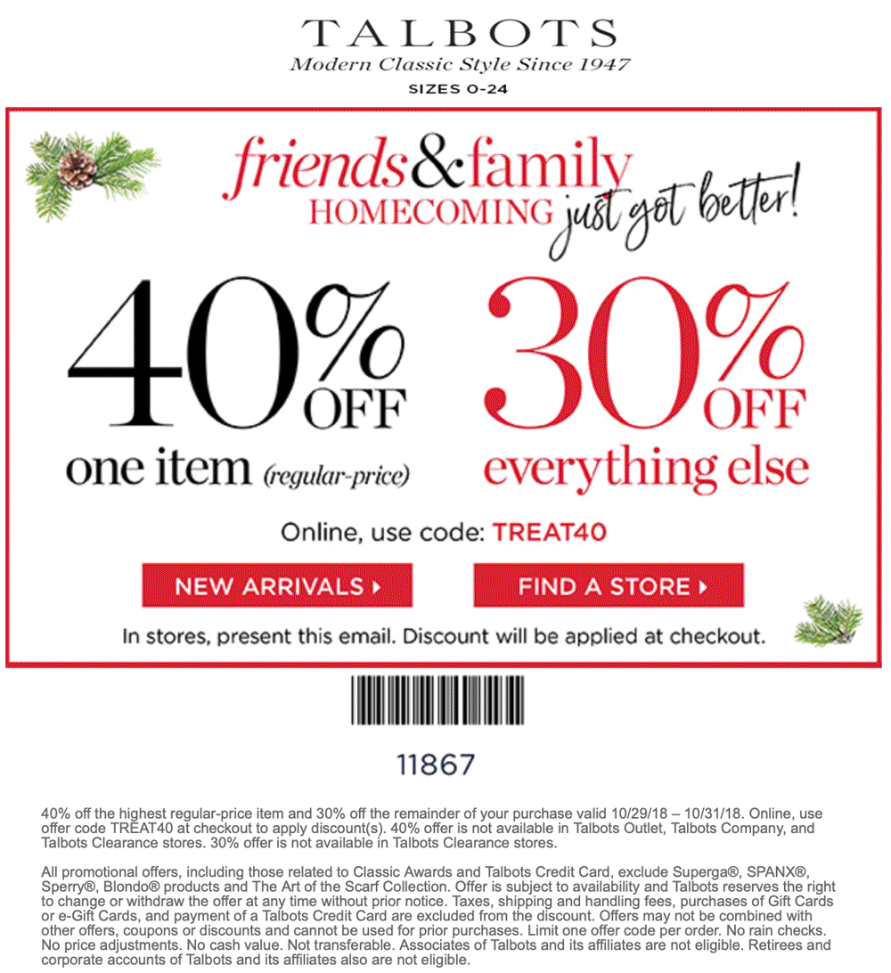 Talbots Coupon November 2019 40% off a single item at Talbots, or online via promo code TREAT40