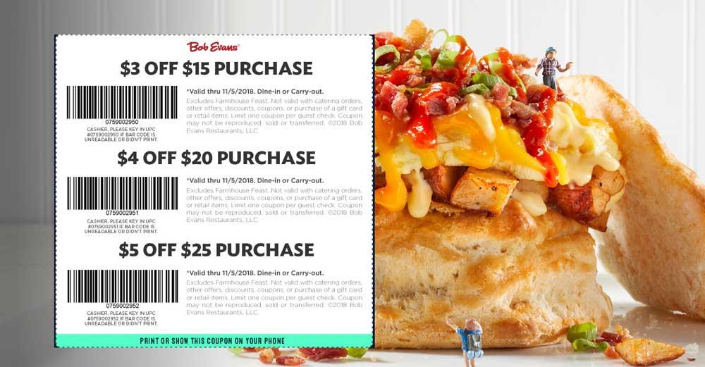 Bob Evans Coupon May 2019 $3 off $15 & more at Bob Evans restaurants