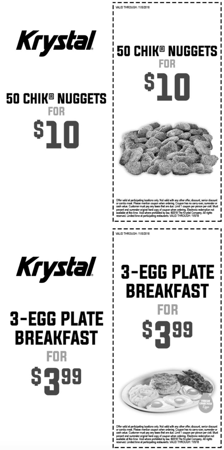 Krystal Coupon January 2020 3 egg breakfast plate = $4 at Krystal