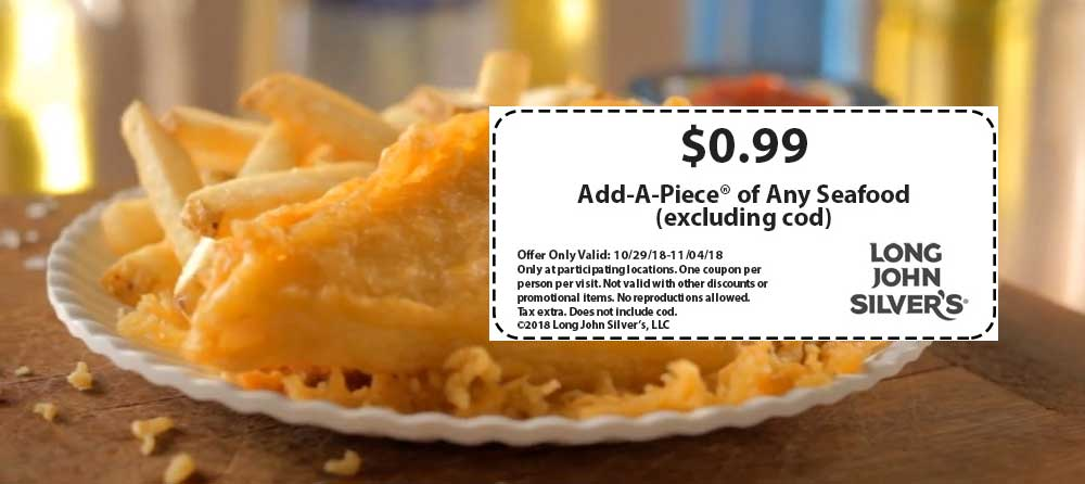 LongJohnSilvers.com Promo Coupon $1 add a piece at Long John Silvers restaurants