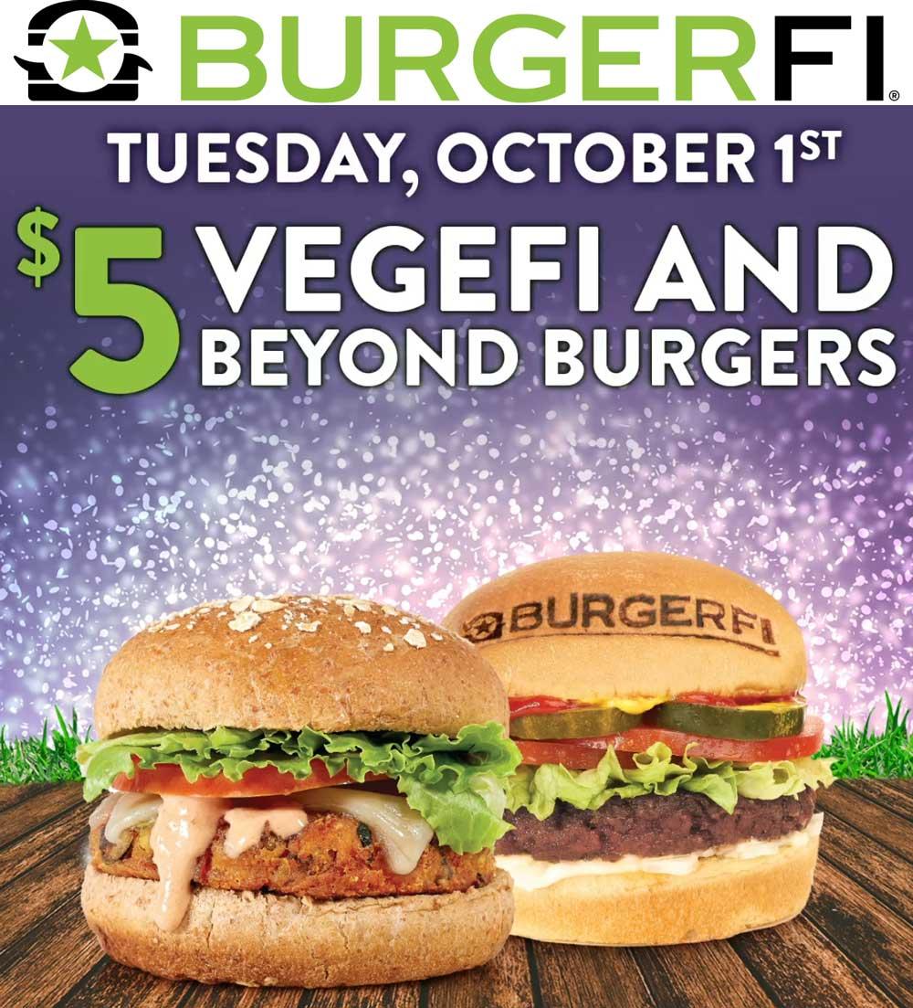 BurgerFi Coupon October 2019 $5 vegefi & beyond burger today at BurgerFi restaurants