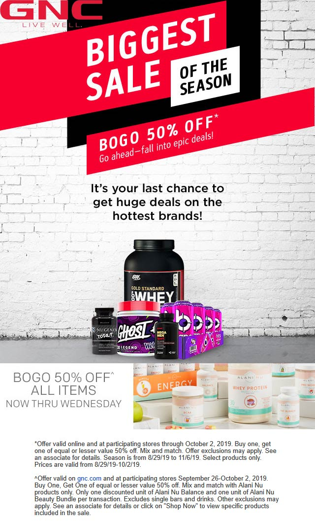 GNC Coupon January 2020 Second item 50% off at GNC, ditto online