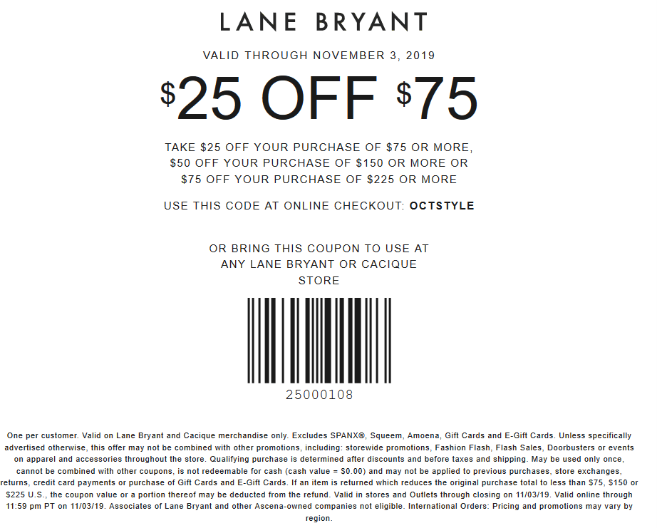 Lane Bryant Coupon November 2019 $25 off $75 at Lane Bryant, or online via promo code OCTSTYLE