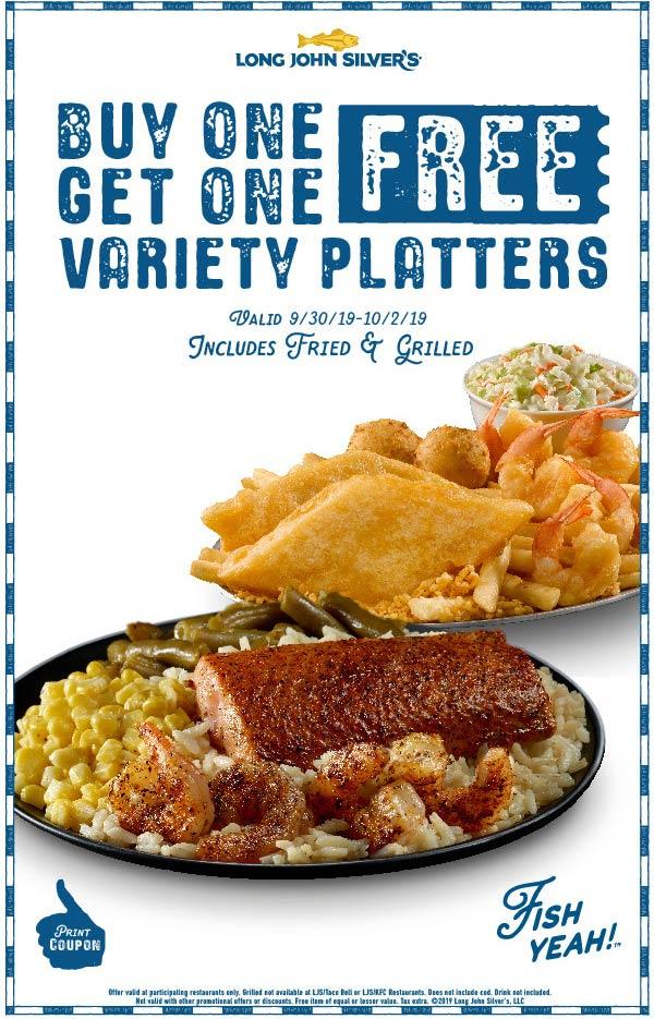Long John Silvers Coupon November 2019 Second variety platter free at Long John Silvers restaurants