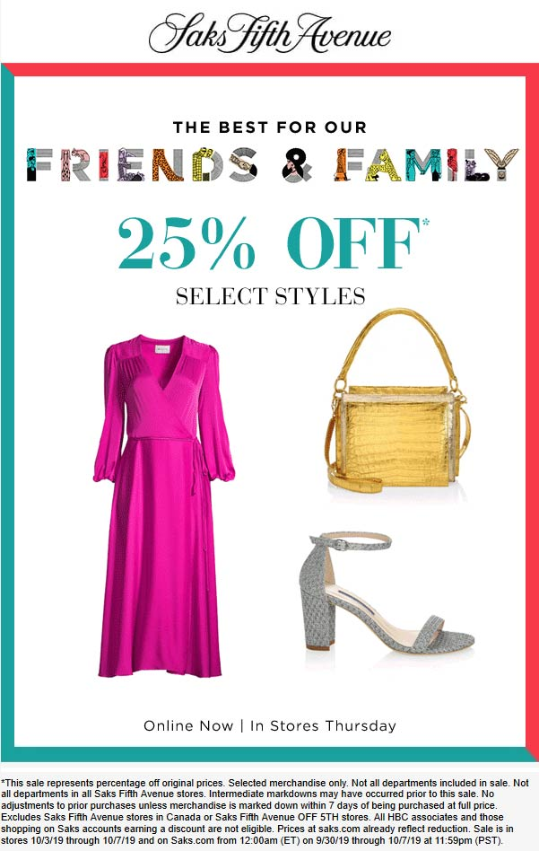 Saks Fifth Avenue Coupon October 2019 25% off at Saks Fifth Avenue, ditto online