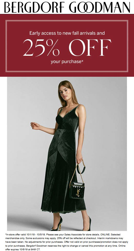 Bergdorf Goodman Coupon November 2019 25% off at Bergdorf Goodman, ditto online