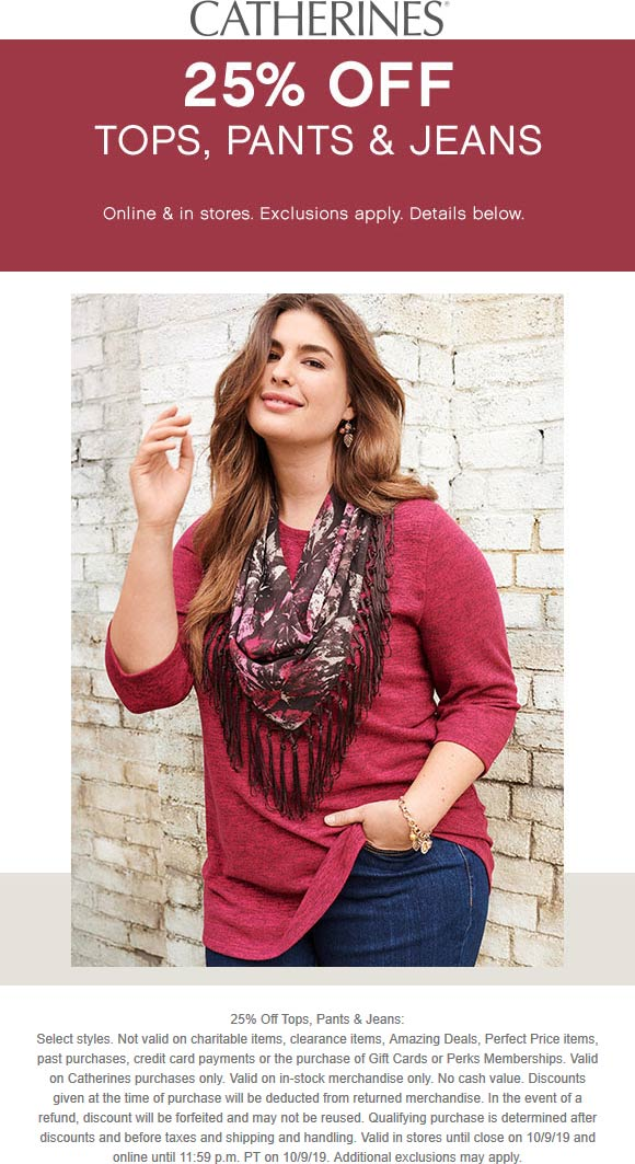 Catherines Coupon November 2019 25% off tops pants & jeans at Catherines, ditto online