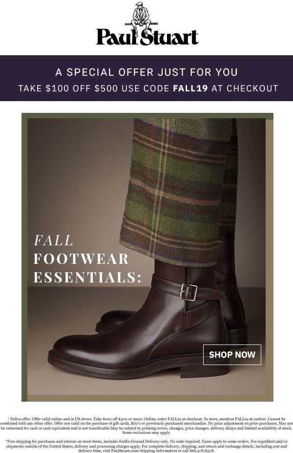 Paul Stuart Coupon October 2019 $100 off $500 at Paul Stuart, or online via promo code FALL19