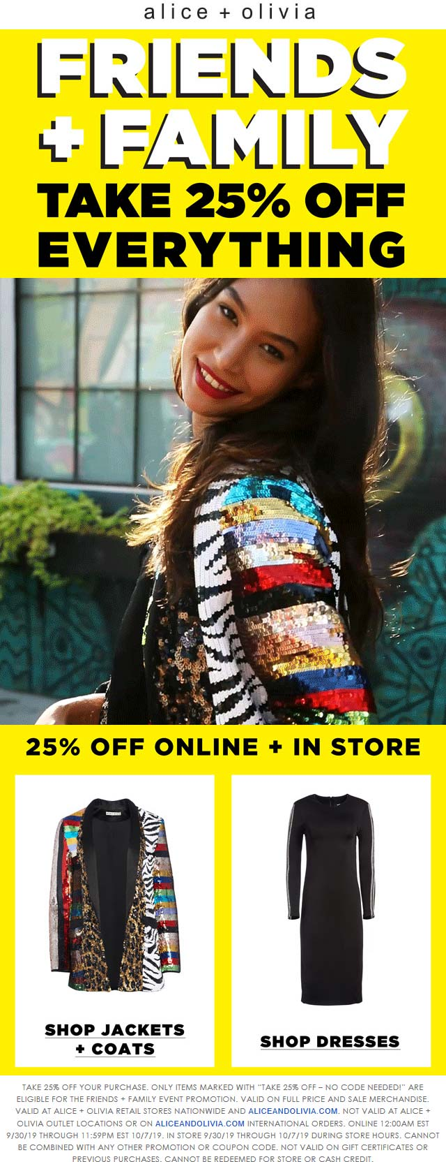 Alice and Olivia Coupon January 2020 25% off everything at Alice and Olivia, ditto online