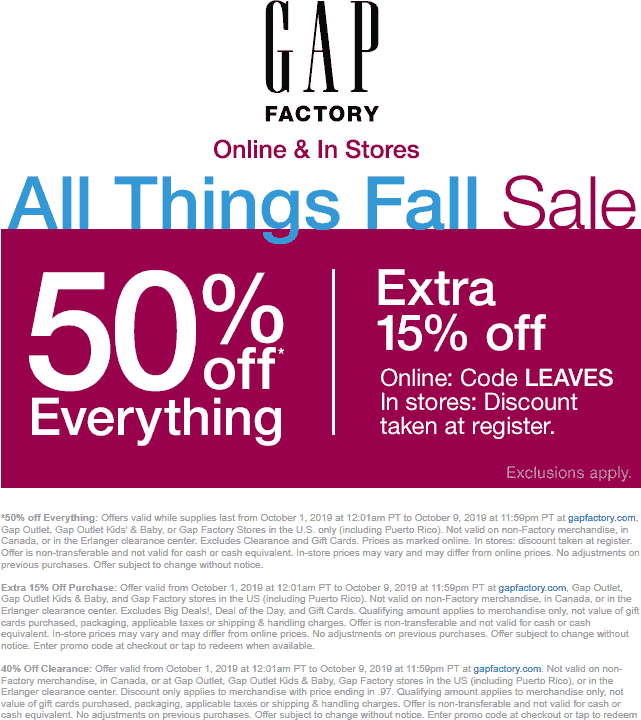 Gap Factory Coupon October 2019 65% off everything at Gap Factory, or online via promo code LEAVES