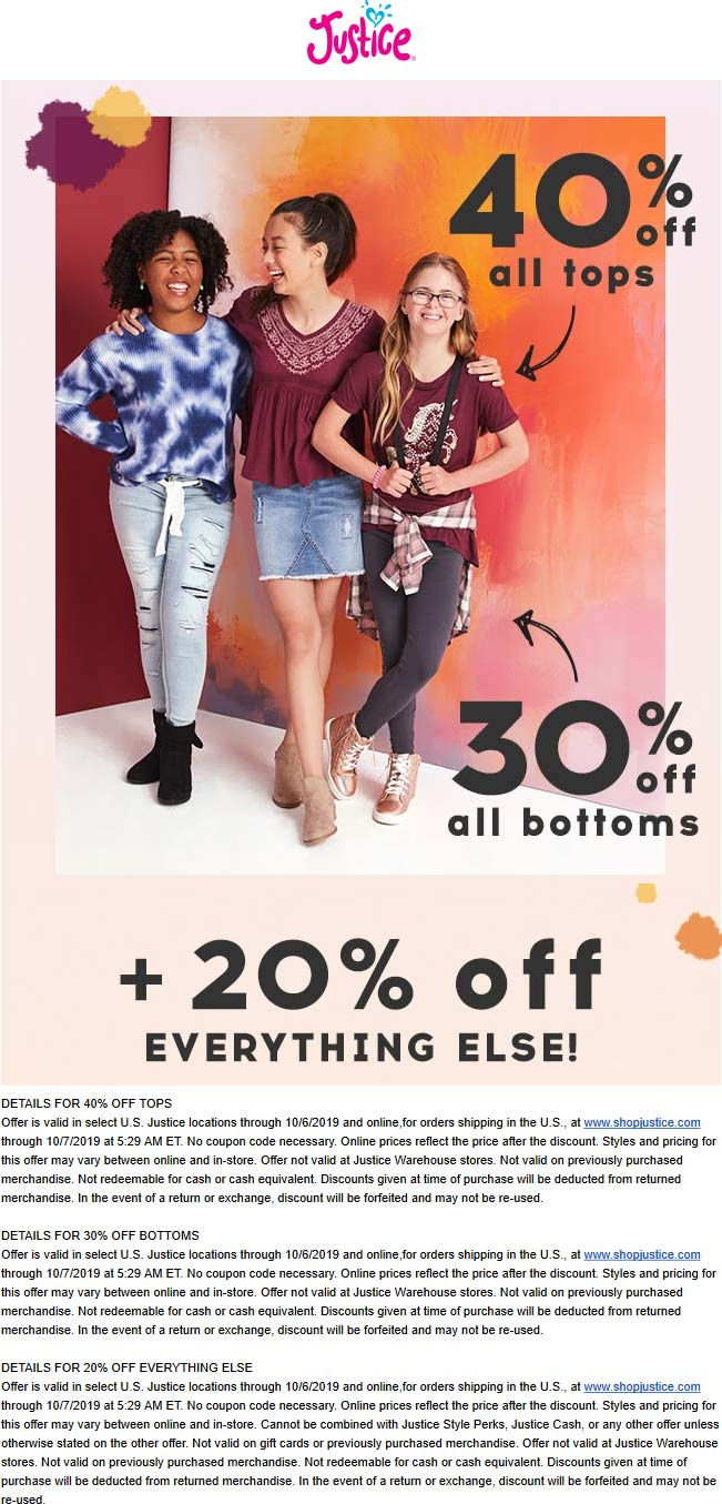Justice Coupon November 2019 20-40% off everything at Justice, ditto online