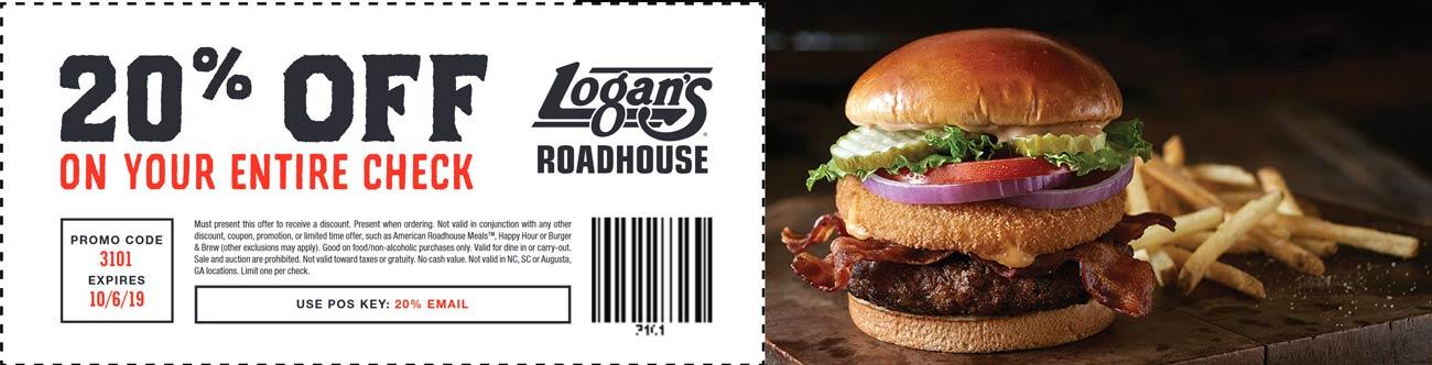 Logans Roadhouse Coupon November 2019 20% off at Logans Roadhouse restaurants