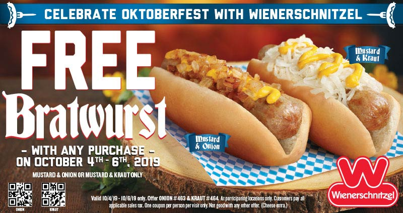 Wienerschnitzel Coupon October 2019 Free bratwurst with any order at Wienerschnitzel restaurants