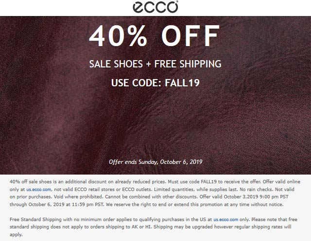ECCO Coupon November 2019 40% off online at ECCO via promo code FALL19
