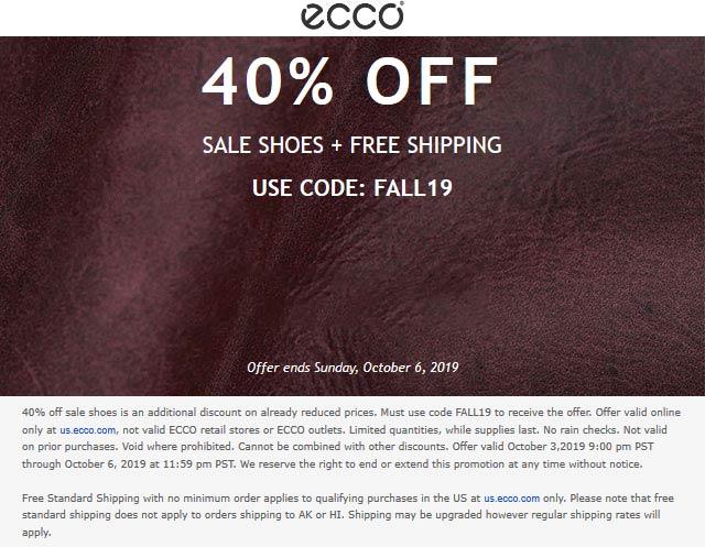 ECCO Coupon January 2020 40% off online at ECCO via promo code FALL19