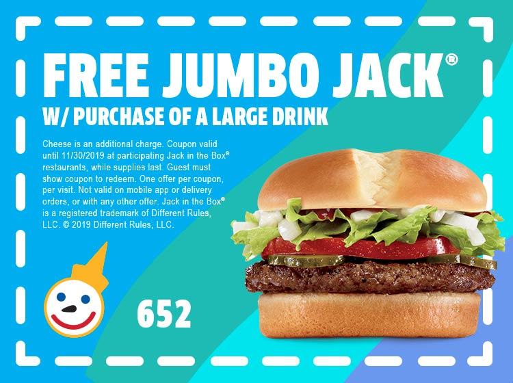 Jack in the Box Coupon October 2019 Free jumbo burger with your drink at Jack in the Box