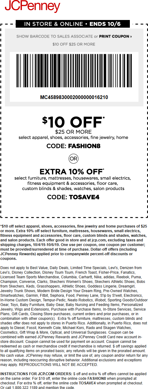 JCPenney Coupon November 2019 $10 off $25 at JCPenney, or online via promo code FASHION8
