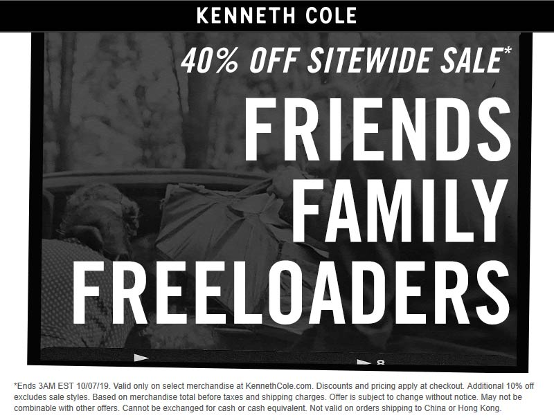 Kenneth Cole Coupon October 2019 40% off everything online at Kenneth Cole, no code needed