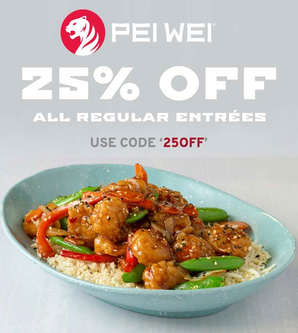 Pei Wei Coupon November 2019 25% off entrees at Pei Wei via promo code 25OFF