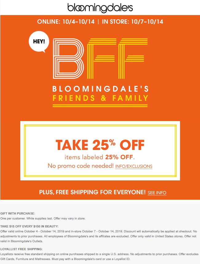 Bloomingdales Coupon October 2019 25% off at Bloomingdales, ditto online