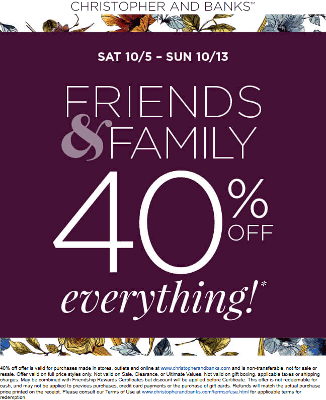 Christopher And Banks Coupon October 2019 40% off everything at Christopher and Banks, ditto online