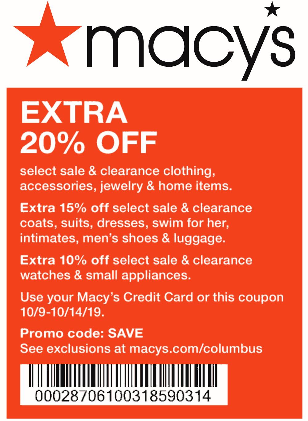 Macys Coupon January 2020 Extra 20% off at Macys, or online via promo code SAVE