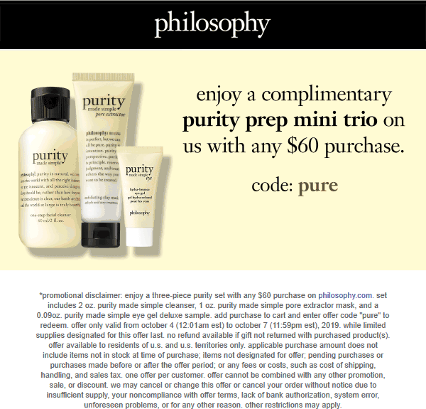 Philosophy Coupon November 2019 3pc set free with $60 spent online at Philosophy via promo code pure