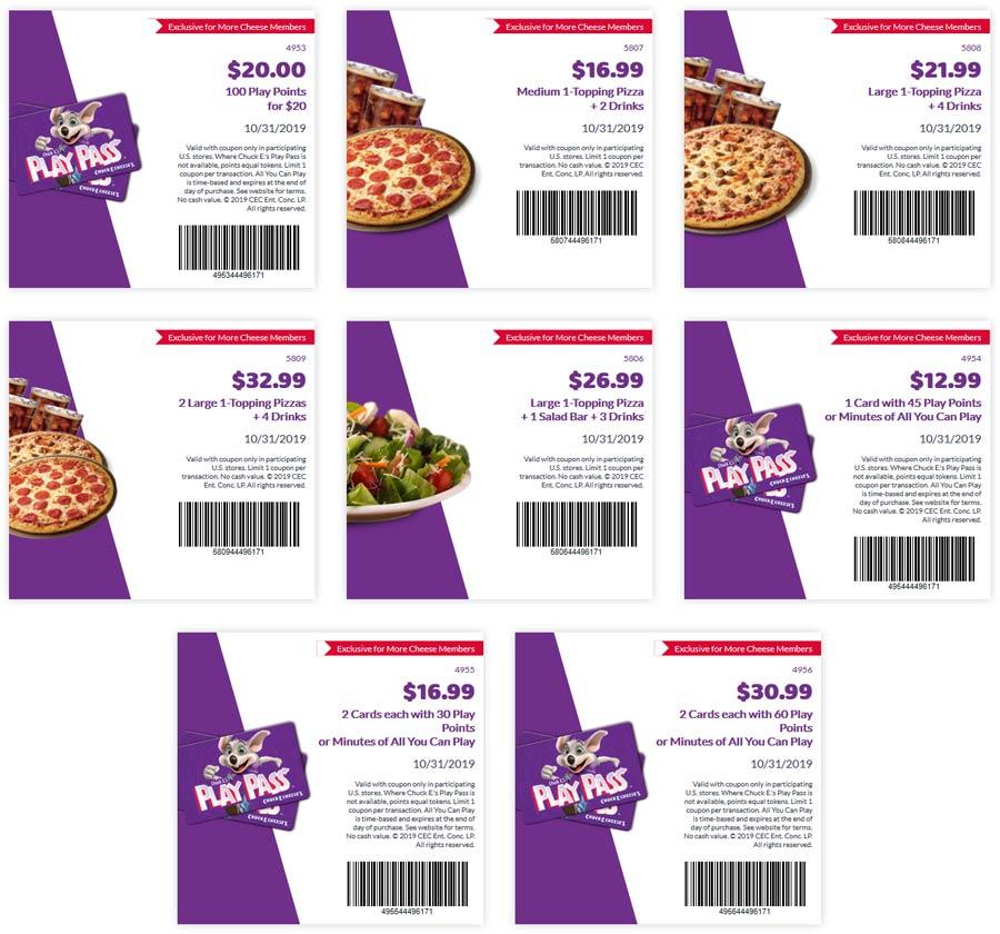 Chuck E. Cheese Coupon January 2020 Various deals at Chuck E. Cheese pizza