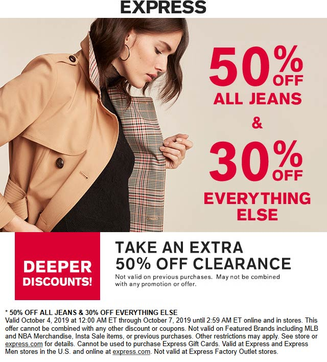 Express Coupon October 2019 30-50% off everything today at Express, ditto online