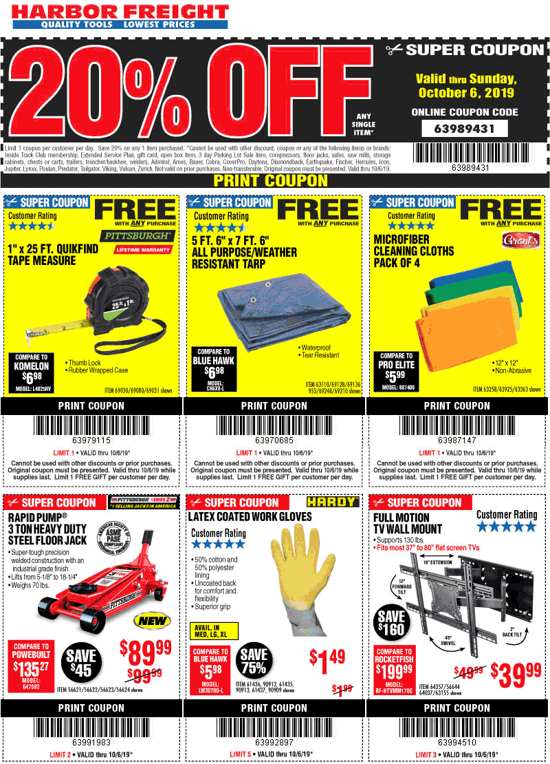 Harbor Freight Tools Coupon October 2019 Free tarp, tape measure & 20% off a single item today at Harbor Frieght Tools